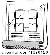 Clipart Of A Sketched Blueprint Scroll Royalty Free Vector Illustration