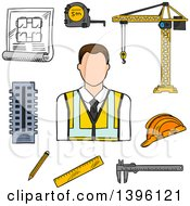 Clipart Of A Sketched Cacuasian Male Engineer And Items Royalty Free Vector Illustration