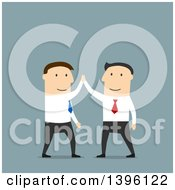 Clipart Of Flat Design Caucasian Business Men High Fiving On A Blue Background Royalty Free Vector Illustration by Vector Tradition SM