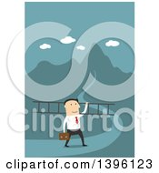 Clipart Of A Flat Design Caucasian Business Man Carrying A Ladder To A Hill Top On A Blue Background Royalty Free Vector Illustration by Vector Tradition SM