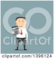Flat Design Caucasian Business Man Holding A Calculator On A Blue Background