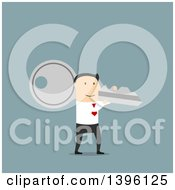 Clipart Of A Flat Design Caucasian Business Man Carrying A Giant Key On A Blue Background Royalty Free Vector Illustration by Vector Tradition SM