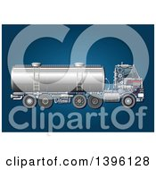 Clipart Of A Tank Truck With Visible Mechanical Parts On Blue Royalty Free Vector Illustration