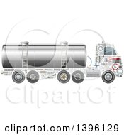 Clipart Of A Tank Truck With Visible Mechanical Parts Royalty Free Vector Illustration