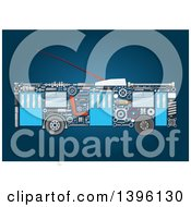 Clipart Of A Trolley Bus With Visible Mechanical Parts On Blue Royalty Free Vector Illustration