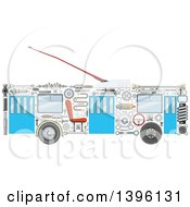 Clipart Of A Trolley Bus With Visible Mechanical Parts Royalty Free Vector Illustration