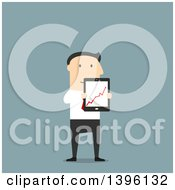 Flat Design Caucasian Business Man Holding A Tablet With A Chart On The Screen On A Blue Background