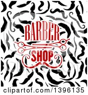 Clipart Of Barber Shop Text And Scissors Over Mustaches Royalty Free Vector Illustration by Vector Tradition SM