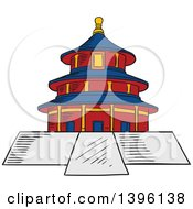 Clipart Of A Sketched Chinese Ancient Temple Of Heaven Royalty Free Vector Illustration by Vector Tradition SM