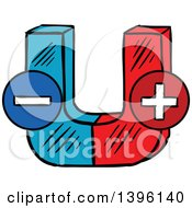 Clipart Of A Sketched Magnet Royalty Free Vector Illustration