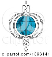 Clipart Of A Sketched Earth Magnetic Field Model Royalty Free Vector Illustration