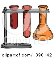 Clipart Of A Sketched Science Test Tube And Flask Holder Royalty Free Vector Illustration by Vector Tradition SM