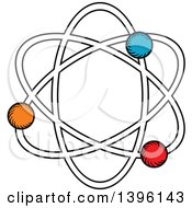 Clipart Of A Sketched Atom Royalty Free Vector Illustration