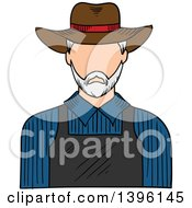 Clipart Of A Sketched Caucasian Male Farmer Royalty Free Vector Illustration by Vector Tradition SM