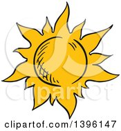 Clipart Of A Sketched Sun Royalty Free Vector Illustration