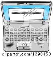 Clipart Of A Sketched Laptop Computer Royalty Free Vector Illustration by Vector Tradition SM