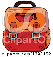 Clipart Of A Sketched School Bag Royalty Free Vector Illustration