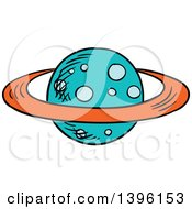 Clipart Of A Sketched Planet Royalty Free Vector Illustration