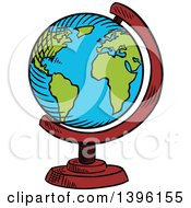 Clipart Of A Sketched Desk Globe Royalty Free Vector Illustration