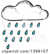 Clipart Of A Sketched Rain Cloud Royalty Free Vector Illustration by Vector Tradition SM