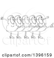 Clipart Of A Cartoon Black And White Lineart Chorus Line Of Senior Ladies Dancing The Can Can Royalty Free Vector Illustration