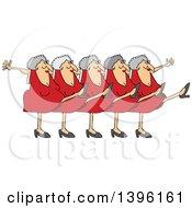 Cartoon Chorus Line Of Senior Caucasian Ladies Dancing The Can Can