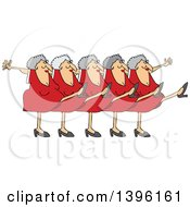 Clipart Of A Cartoon Chorus Line Of Senior Caucasian Ladies Dancing The Can Can Royalty Free Vector Illustration