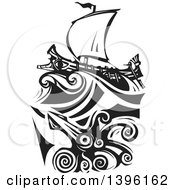 Clipart Of A Black And White Woodcut Giant Squid Under A Greek Galley Ship Royalty Free Vector Illustration by xunantunich