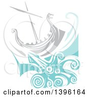 Clipart Of A Woodcut Giant Squid Under A Viking Ship Royalty Free Vector Illustration