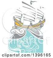 Clipart Of A Woodcut Octopus Under A Chinese Junk Ship Royalty Free Vector Illustration