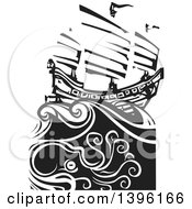 Clipart Of A Black And White Woodcut Octopus Under A Chinese Junk Ship Royalty Free Vector Illustration by xunantunich