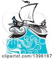 Clipart Of A Woodcut Octopus Under A Greek Galley Ship Royalty Free Vector Illustration