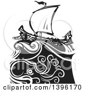 Clipart Of A Black And White Woodcut Octopus Under A Greek Galley Ship Royalty Free Vector Illustration