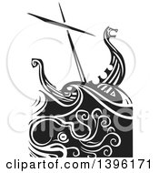 Clipart Of A Black And White Woodcut Octopus Under A Viking Ship Royalty Free Vector Illustration