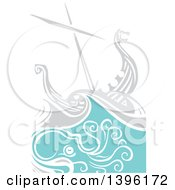 Clipart Of A Woodcut Octopus Under A Viking Ship Royalty Free Vector Illustration