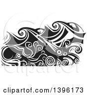 Clipart Of A Black And White Woodcut Octopus And Giant Squid Under Ocean Waves Royalty Free Vector Illustration