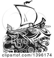 Clipart Of A Black And White Woodcut Octopus And Giant Squid Under A Greek Galley Ship Royalty Free Vector Illustration