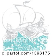 Clipart Of A Woodcut Octopus And Giant Squid Under A Greek Galley Ship Royalty Free Vector Illustration