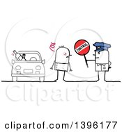 Clipart Of A Sketched Stick Man Police Officer Holding A Control Sign By A Drunk Driver Royalty Free Vector Illustration
