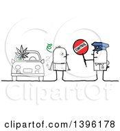 Clipart Of A Sketched Stick Man Police Officer Holding A Control Sign By A High Driver Royalty Free Vector Illustration by NL shop