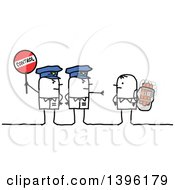 Poster, Art Print Of Sketched Stick Police Officers Holding A Control Sign By A Suicidal Bomber Terrorist