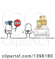 Clipart Of A Sketched Stick Man Police Officer Holding A Control Sign By A Driver With Packages Royalty Free Vector Illustration