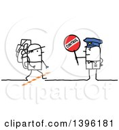 Clipart Of A Sketched Stick Man Police Officer Holding A Control Sign By An Immigrant Crossing The Border Royalty Free Vector Illustration