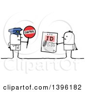 Clipart Of A Sketched Stick Man Police Officer Holding A Control Sign By A Guy Holding An Identification Card Royalty Free Vector Illustration