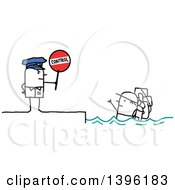 Clipart Of A Sketched Stick Man Police Officer Holding A Control Sign By An Illegal Immigrant In The Ocean Royalty Free Vector Illustration