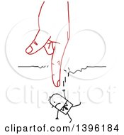 Clipart Of A Sketched Red Hand Pointing Down And Breaking A String That A Stick Business Man Was Hanging On To Royalty Free Vector Illustration by NL shop