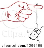 Clipart Of A Sketched Red Hand Dangling A Stick Business Man By A Thread Royalty Free Vector Illustration by NL shop