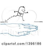 Clipart Of A Sketched Blue Hand Bridging A Gap To Help A Stick Business Man Cross Royalty Free Vector Illustration
