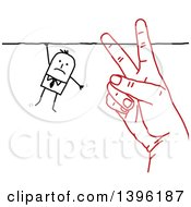 Clipart Of A Sketched Red Hand Cutting The String That A Stick Business Man Is Hanging On To Royalty Free Vector Illustration by NL shop