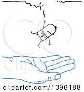 Clipart Of A Sketched Blue Hand Catching A Falling Stick Business Man Royalty Free Vector Illustration